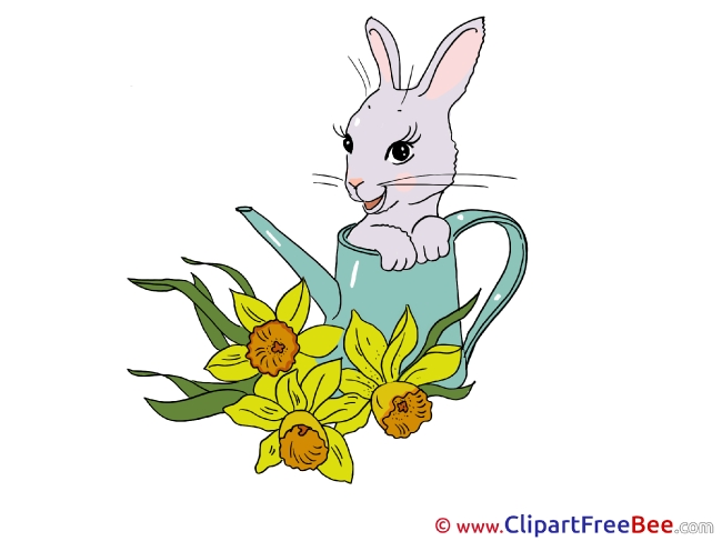 Watering Can Rabbit download printable Illustrations
