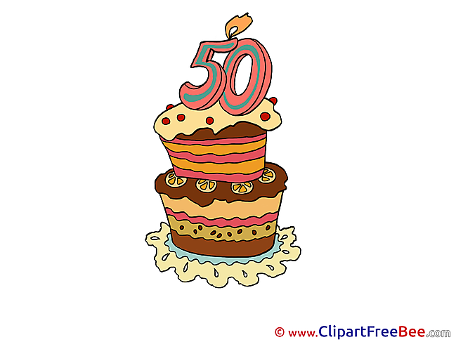 50 Years Cake printable Illustrations Birthday