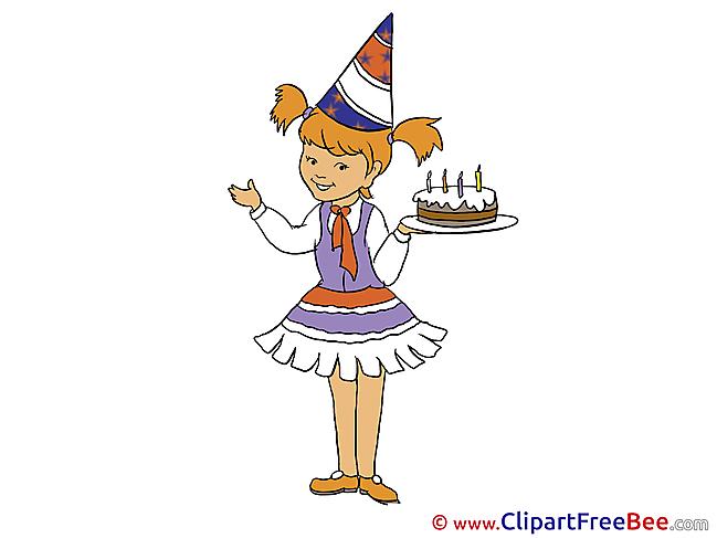 Girl Cake Birthday download Illustration