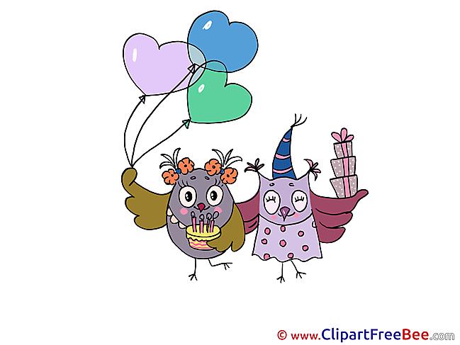 Owls Birthday Illustrations for free