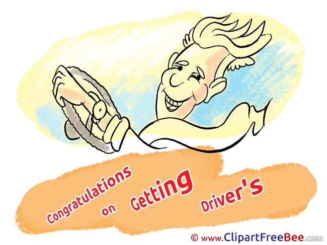 Congratulations Getting Driver's License Boy printable Illustrations for free