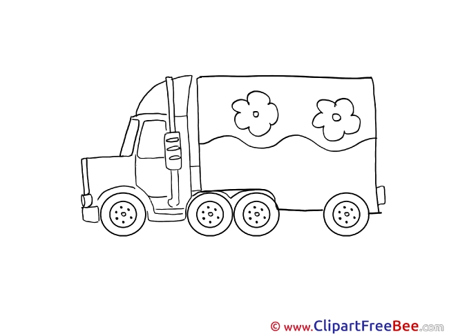 Flowers Truck download printable Illustrations