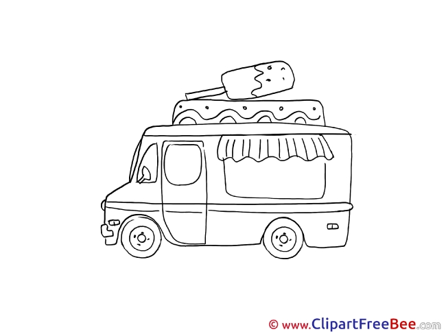 Ice Cream Truck printable Illustrations for free