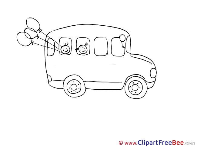 School Bus Balloons Clipart free Illustrations