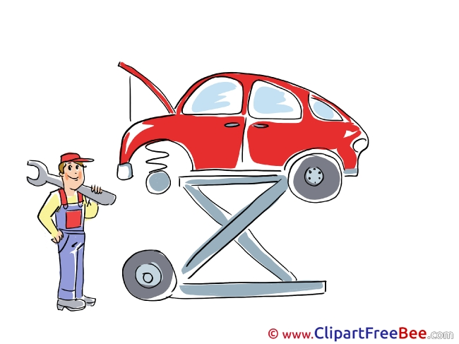 Service Station Repair Car Man Clipart free Illustrations