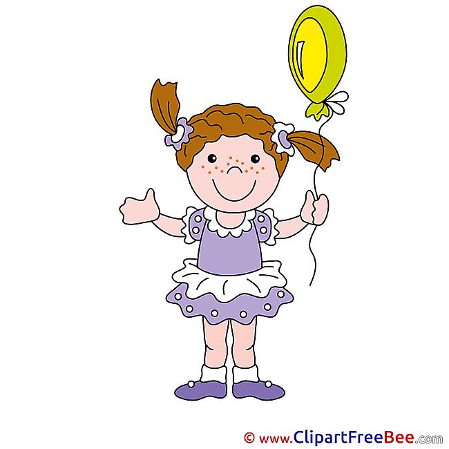 Balloon Girl Cliparts printable for free