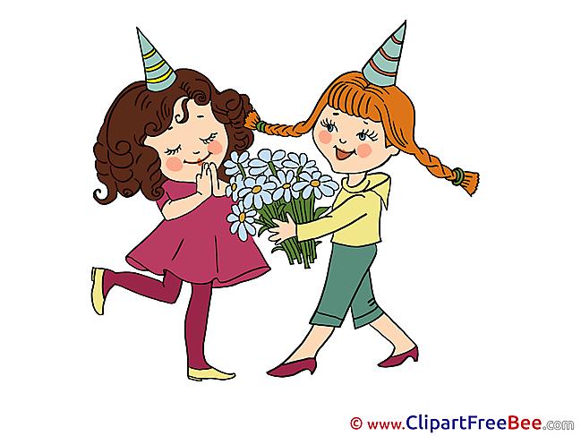 Flowers Girls Pics download Illustration
