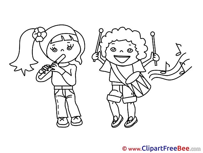 Musicians Kids download printable Illustrations