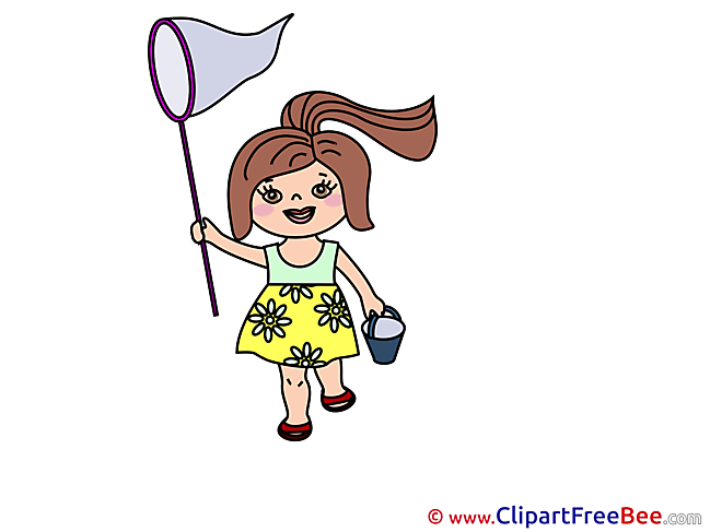 Scoop-net Girl Clipart free Illustrations