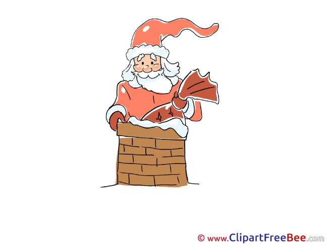 Chimney Santa Claus Christmas Clip Art for free