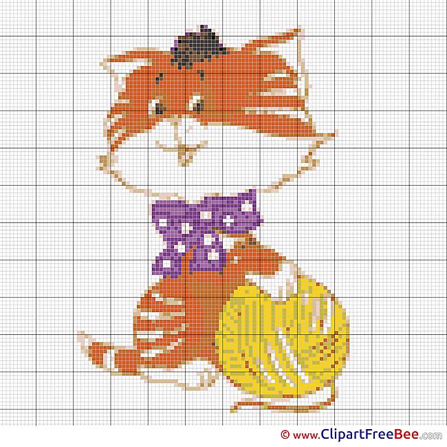 Cat Ball of Yarn free printable Cross Stitches