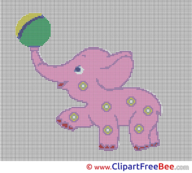 Elephant with Ball Design Cross Stitches free