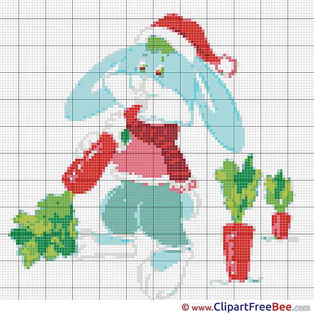 Hare Carrot Design download Cross Stitch
