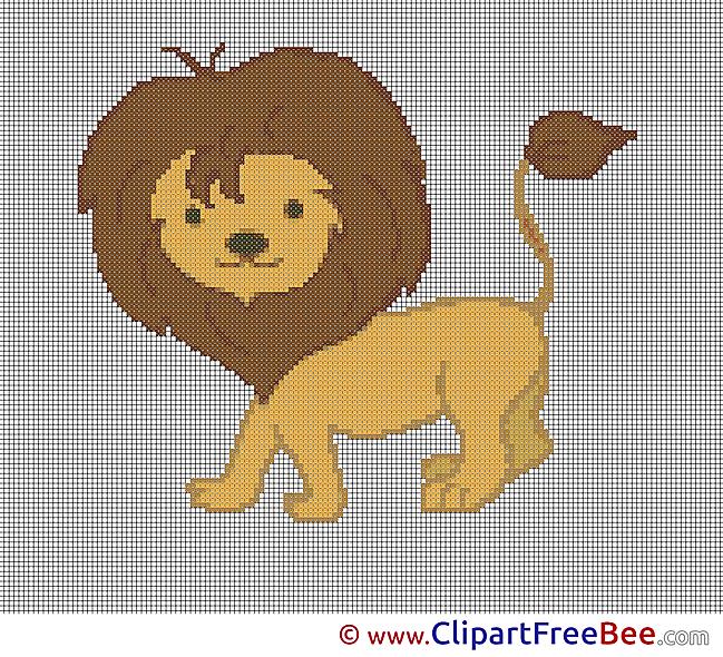 Lion printable Cross Stitches free