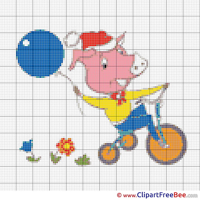 Pig on Bicycle download printable Cross Stitches