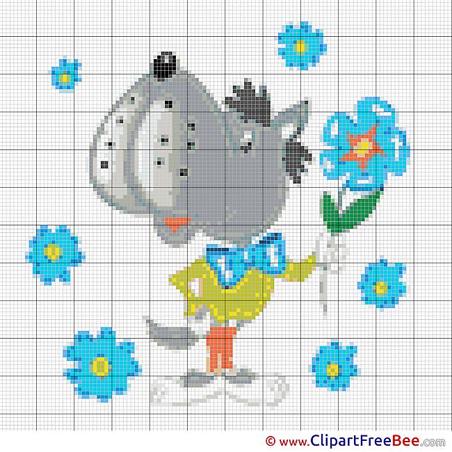 Wolf Cross Stitch printable free