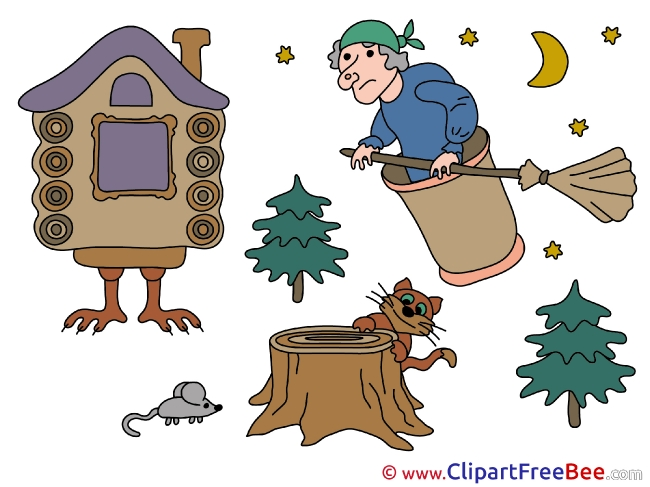 Baba Yaga Trees Mouse Cliparts Fairy Tale for free