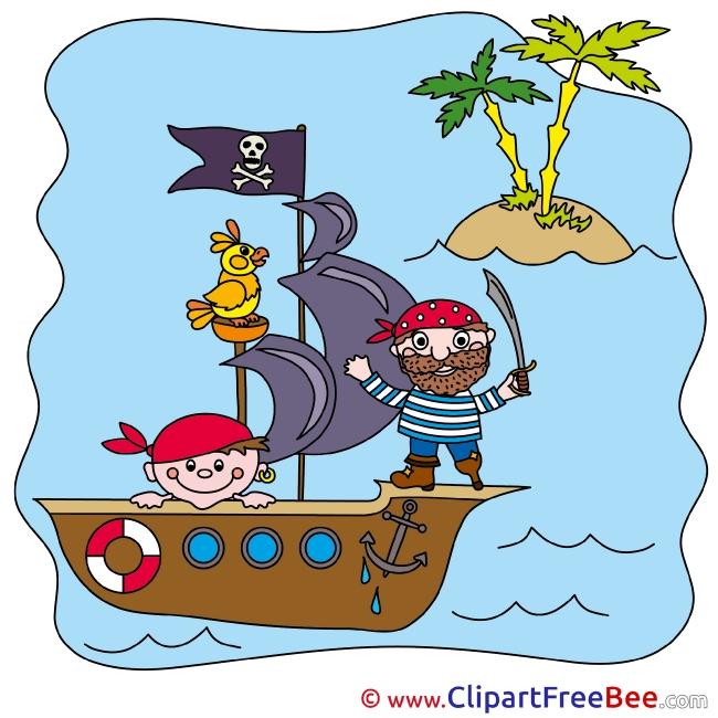Boat Sea Island Pirates Clip Art download Fairy Tale