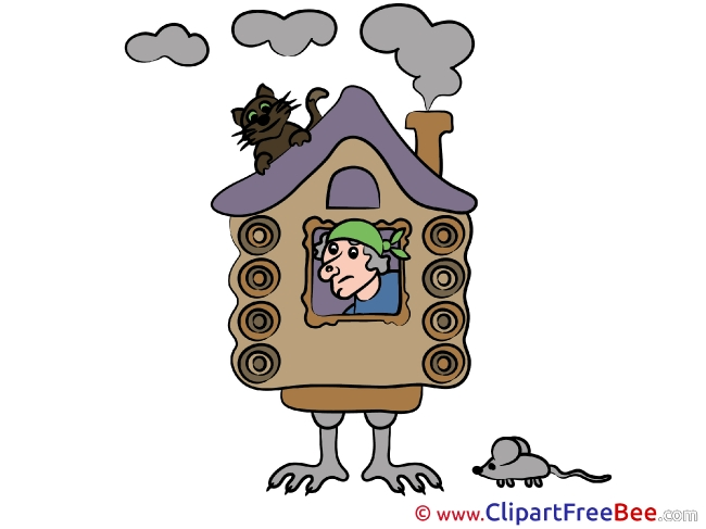 Hut on Chicken Legs Cat Mouse Fairy Tale download Illustration