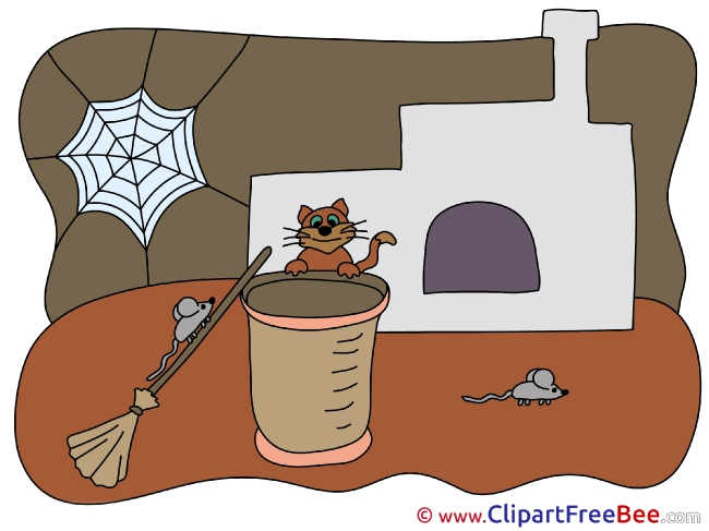 Web Cat Mouse printable Illustrations Fairy Tale