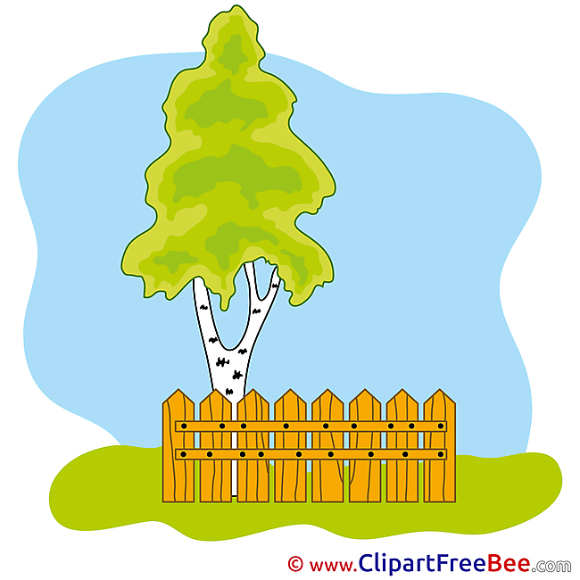 Birch Tree Fence Clipart free Illustrations