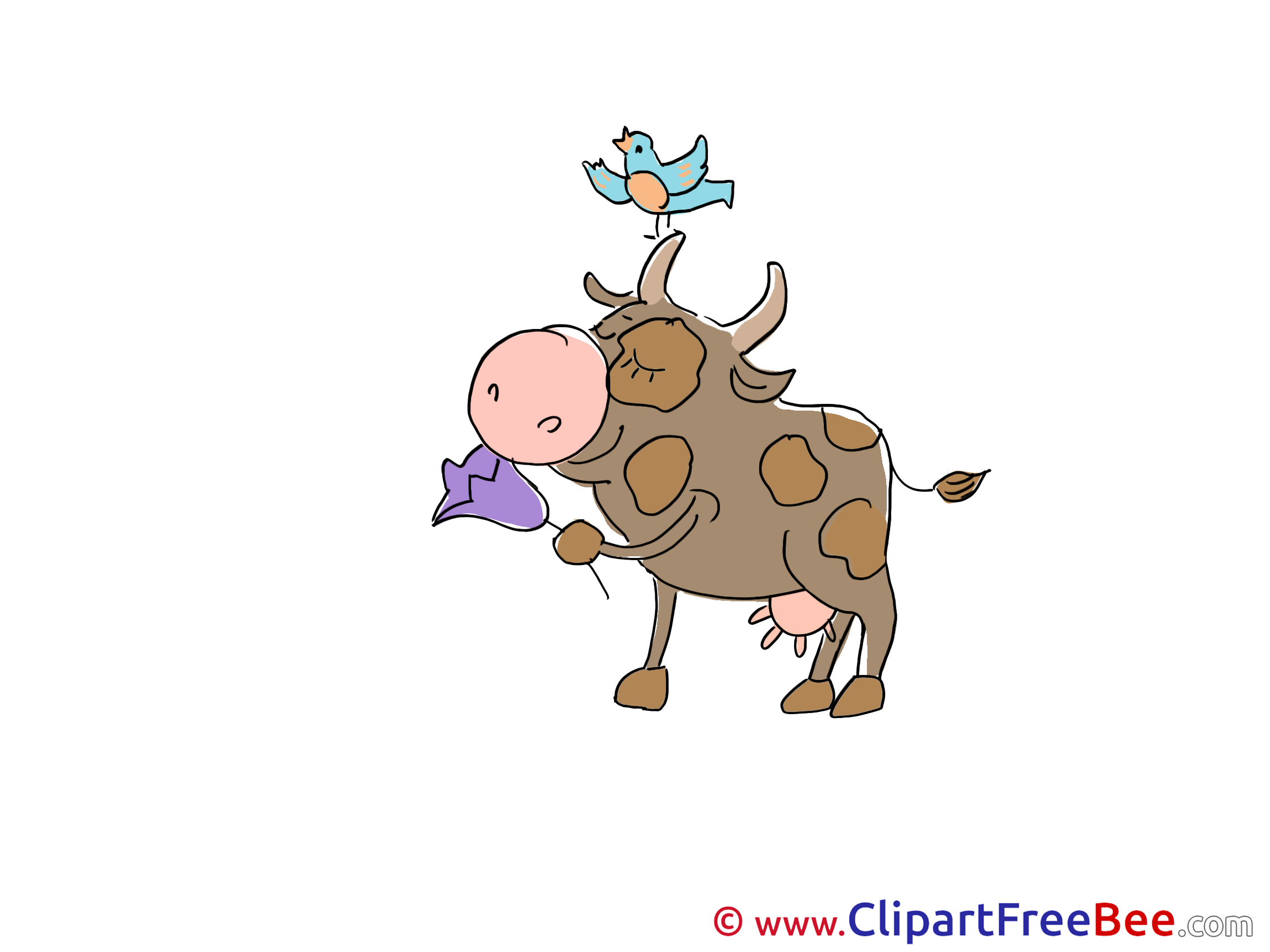 Bird Cow Flower free Cliparts for download