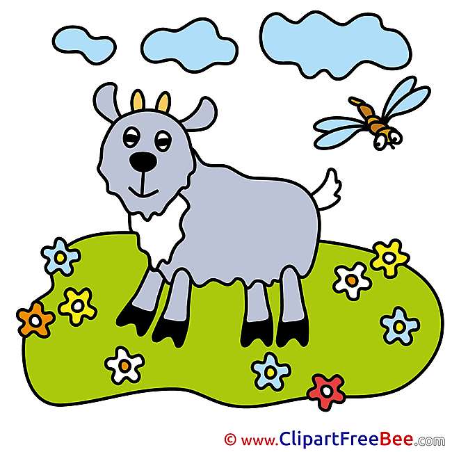 Dragonfly Goat Meadow Clipart free Illustrations