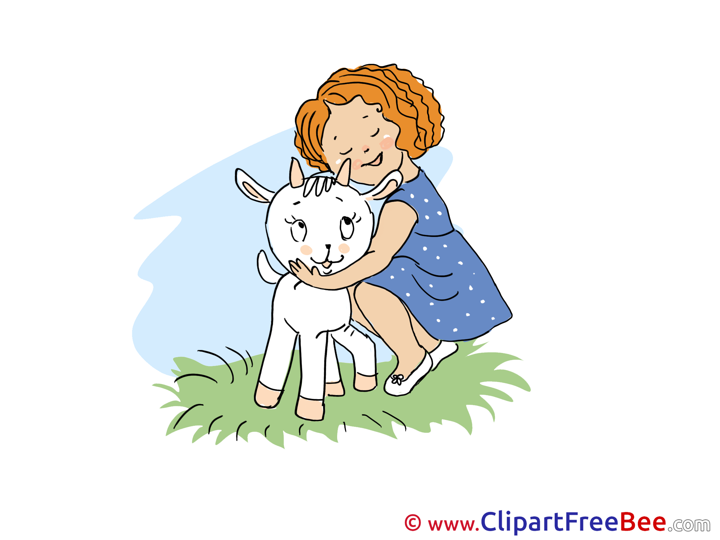 Girl with Goatling printable Illustrations for free