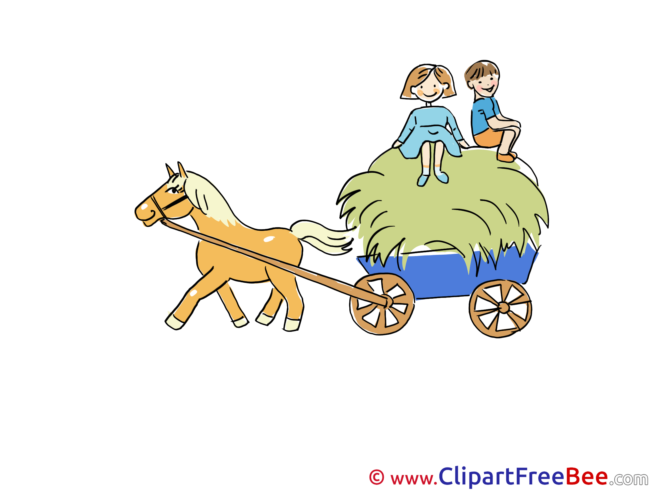 Hay Cart Boys Horse Clipart free Illustrations