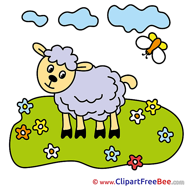 Meadow Sheep Clouds printable Illustrations for free