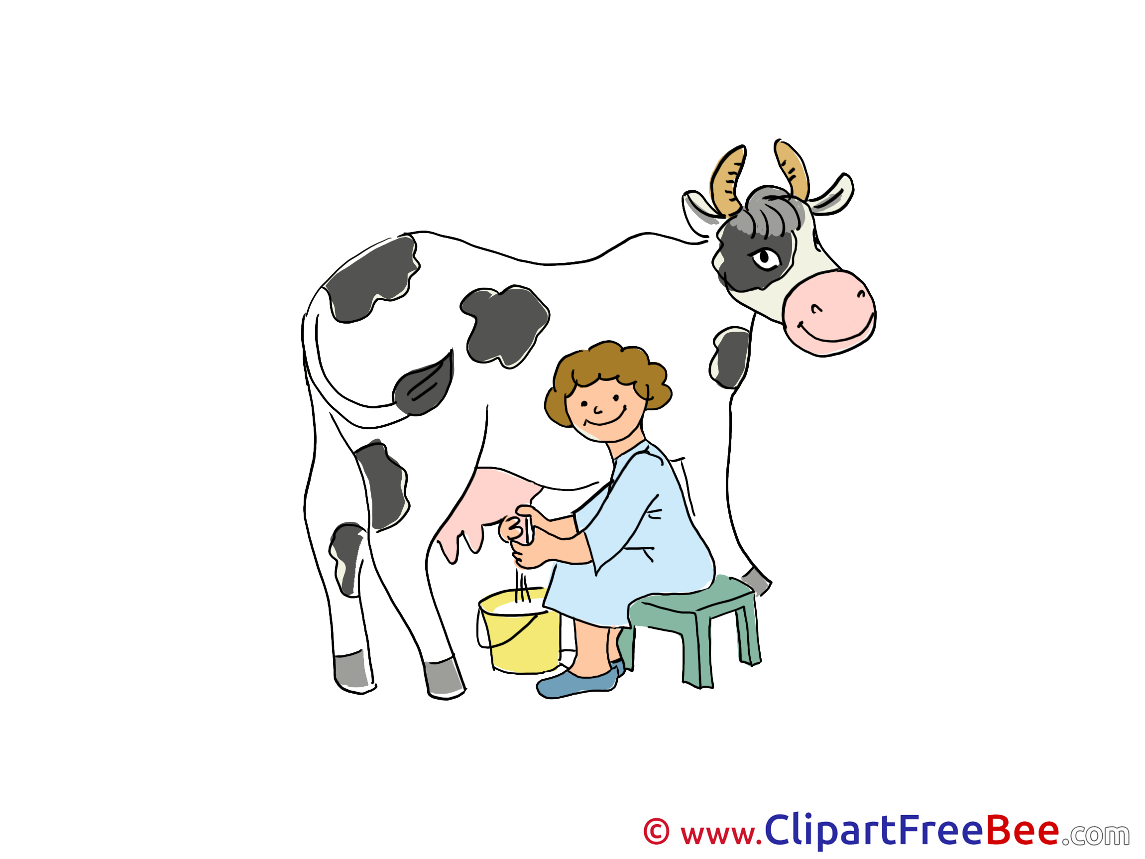 Milkmaid Cow Clipart free Illustrations