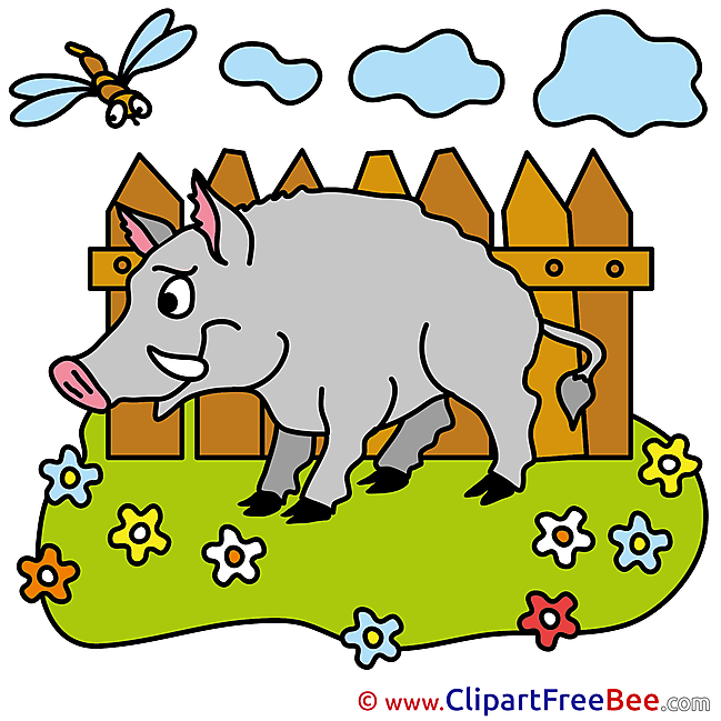 Wid Boar Fence Clouds printable Illustrations for free