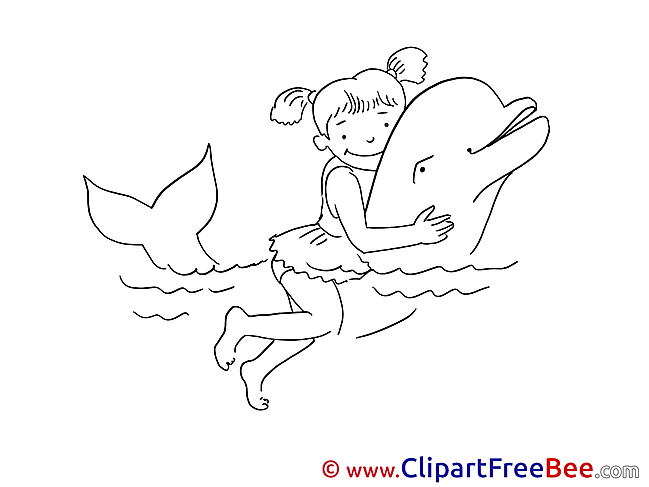 Dolphin with Girl Pics Vacation Illustration
