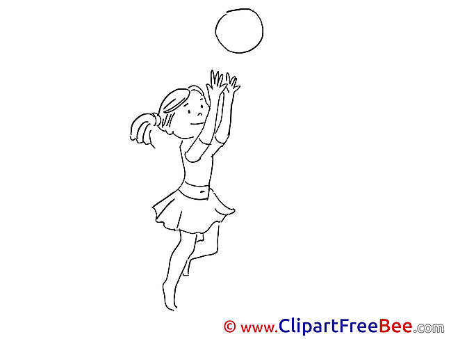 Little Girl plays with Ball Clipart Vacation free Images