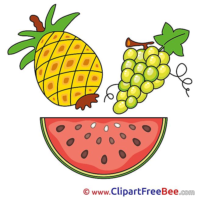 Watermelon Grape Ananas Clip Art download for free