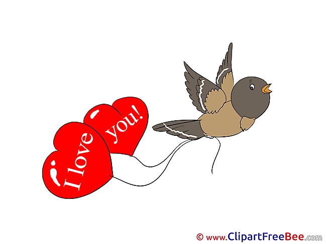 Bird Balloons Cliparts Hearts for free