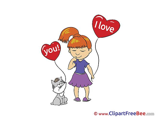Cat Girl Balloons free Illustration Hearts