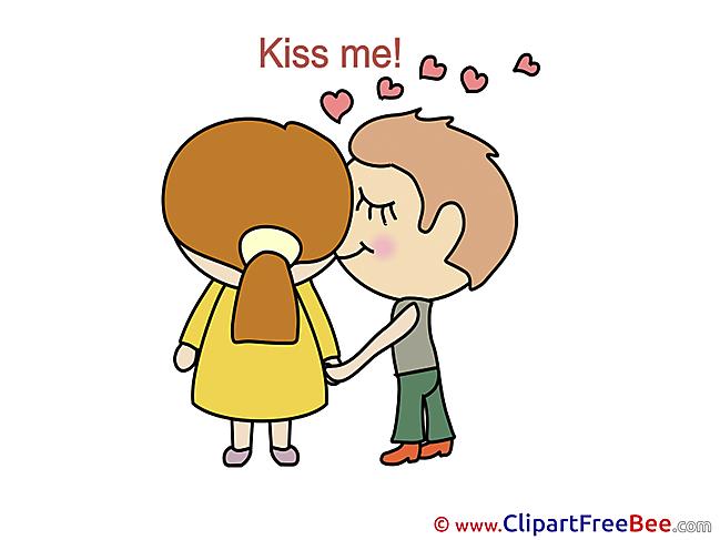 Boy Girl Kiss Me Clipart I Love You Illustrations