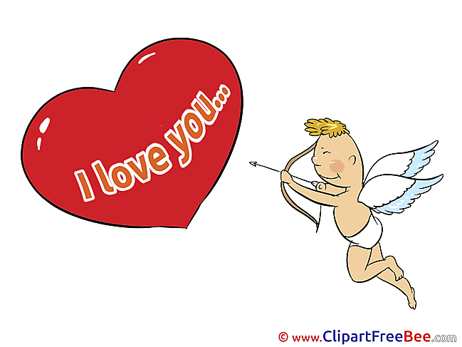 Cupid Bow Heart I Love You Illustrations for free
