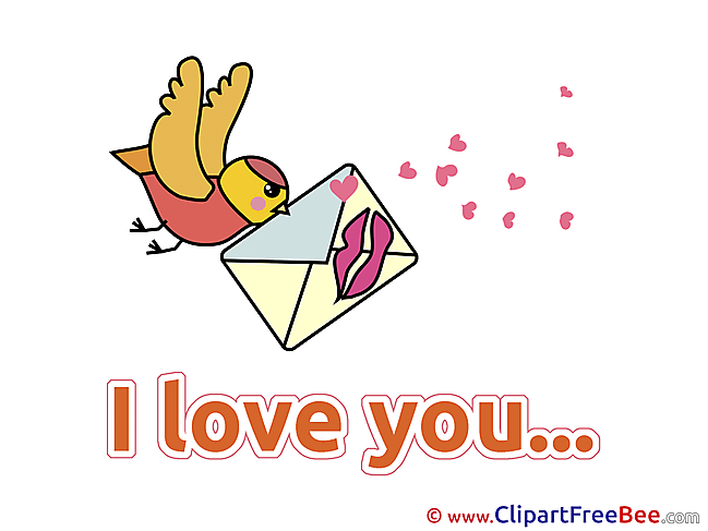 Letter Kiss Bird Courier free Illustration I Love You