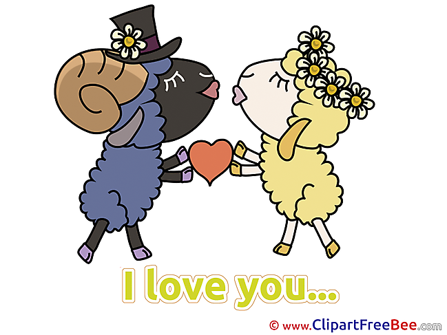 Sheeps Flowers Heart Cliparts I Love You for free