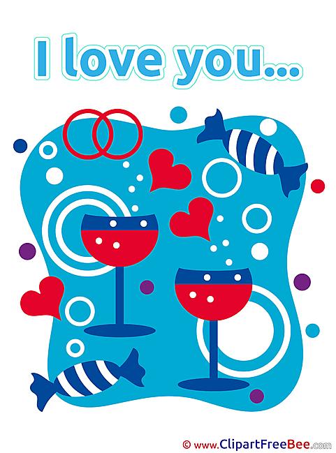 Wine Glasses Sweets Hearts Pics I Love You free Cliparts