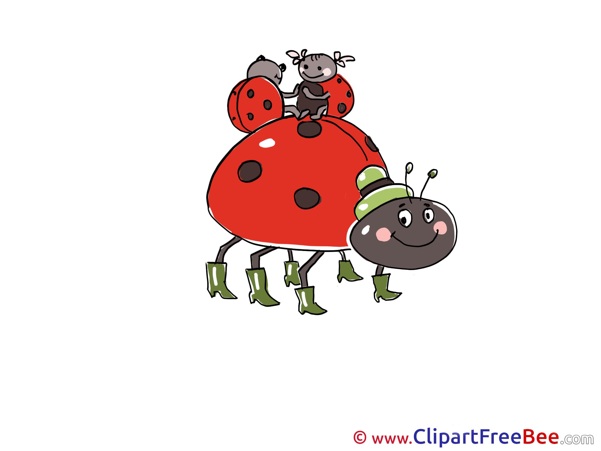 Kids Ladybugs Clipart free Illustrations