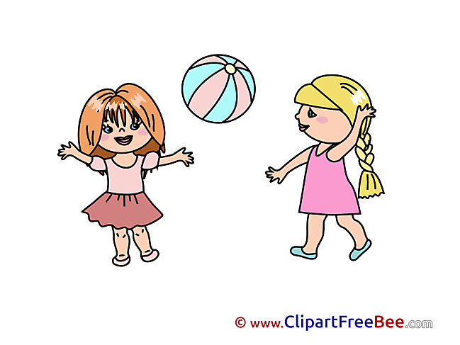 Ball Girls play download Clipart Kindergarten Cliparts