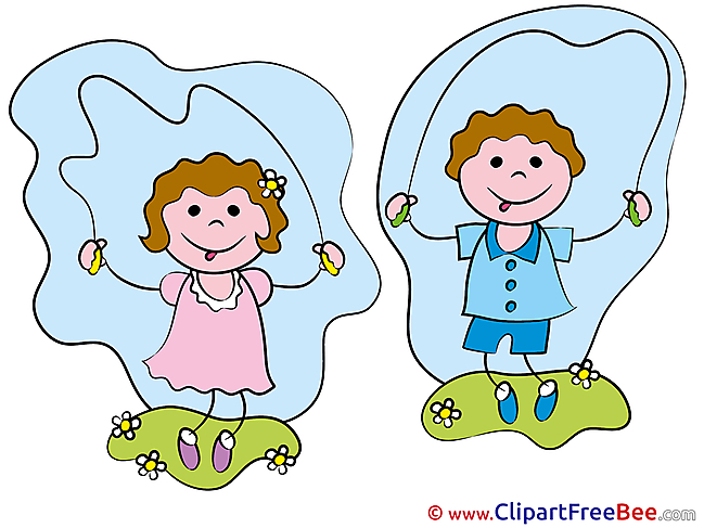 Children jump Rope Kindergarten download Illustration