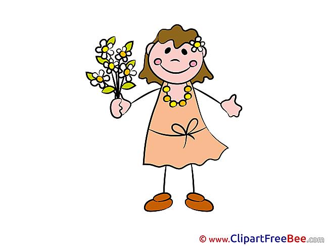 Flowers Girl Clipart Kindergarten Illustrations