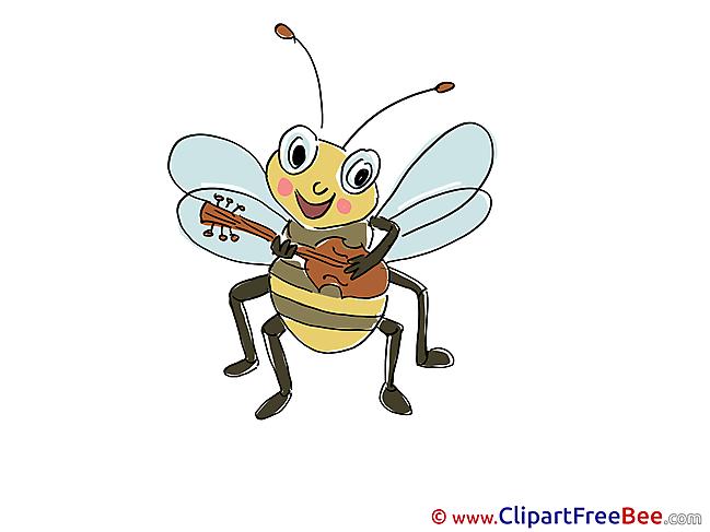 Guitar Bee plays printable Kindergarten Images