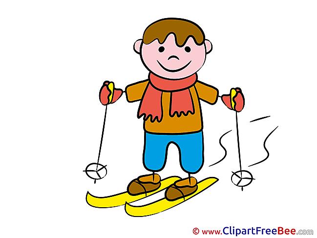 Ski Boy printable Illustrations Kindergarten