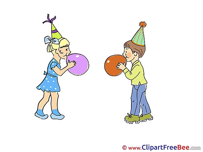 Balloons Children Pics Party Illustration
