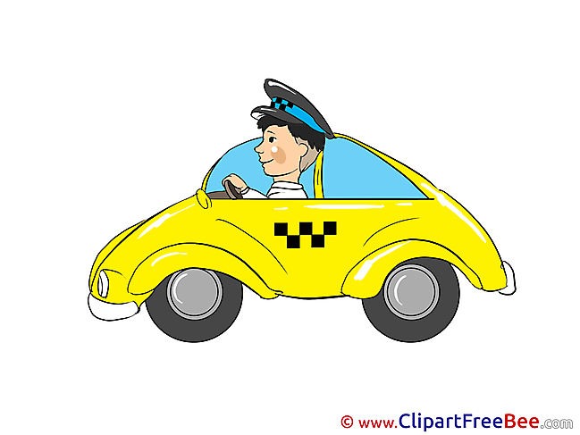 Driver Taxi printable Illustrations for free